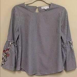 Black checked bell sleeve blouse with embroidery S